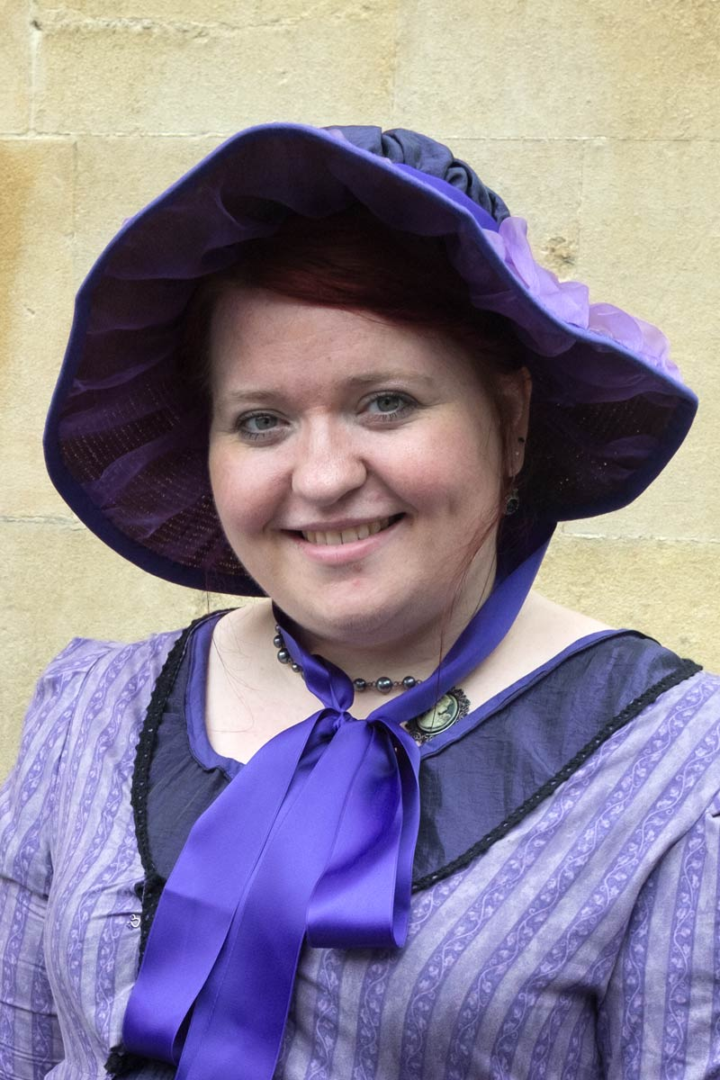 Woman in period costume during Jane Austen Week in Bath, England